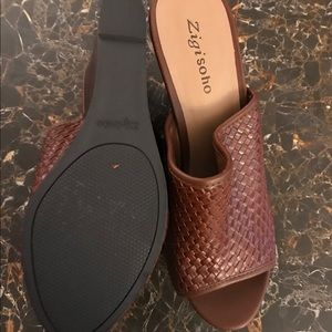 Zigisoho brown leather woven 4 inch wedges new